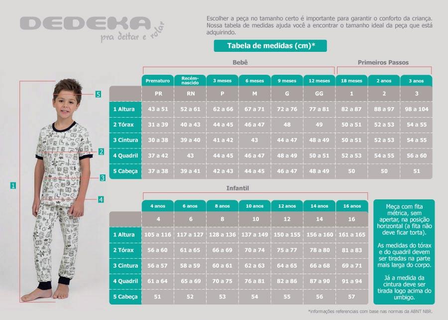 Confira a tabela de medidas - Pijama beb? e infantil