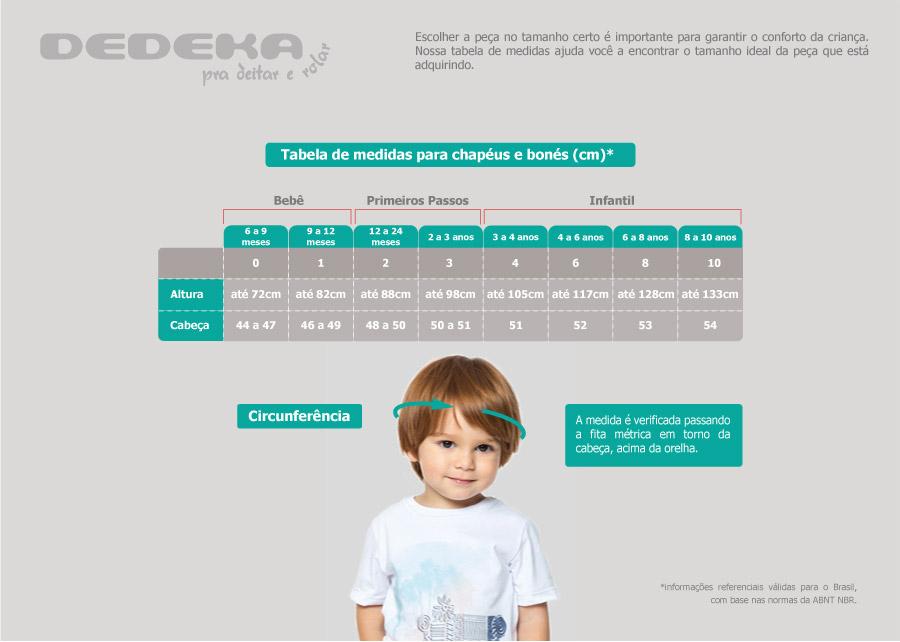 Confira a tabela de medidas - Chap?u beb? e infantil