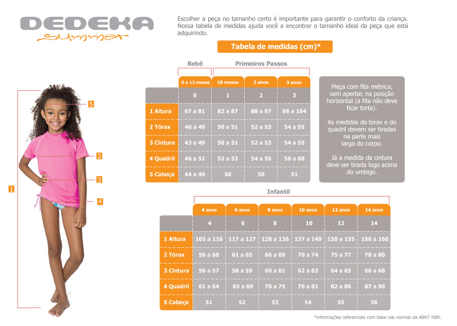 Confira a tabela de medidas - Bermuda infantil