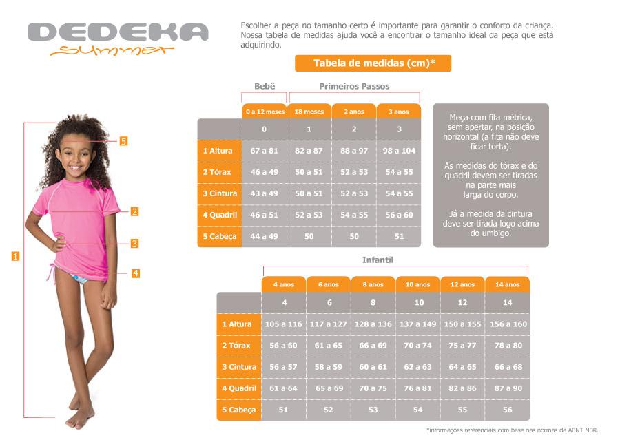 Confira a tabela de medidas - Camiseta infantil com fator de prote??o solar