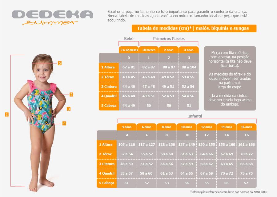 Confira a tabela de medidas - Mai? beb? e infantil com fator de prote??o solar