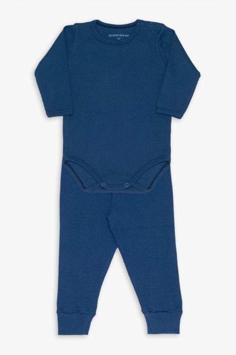 Conjunto de body canelado azul marinho infantil