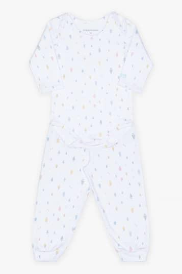 Kit bebê unissex de calça, body e naninha chuva colorida