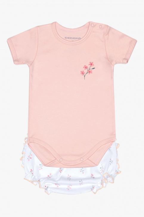 Conjunto de body e calcinha floral campestre para bebê