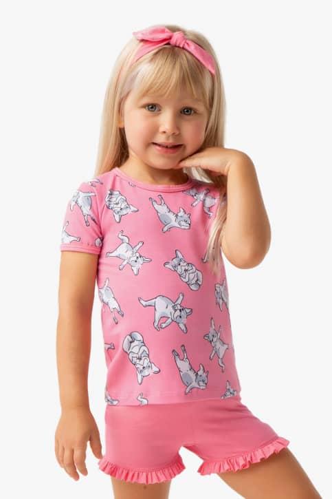 Pijama curto de algodão e modal estampa dog yoga infantil