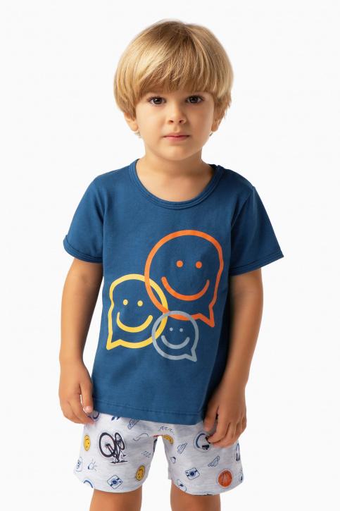 Pijama curto stickers infantil - Brilha no escuro