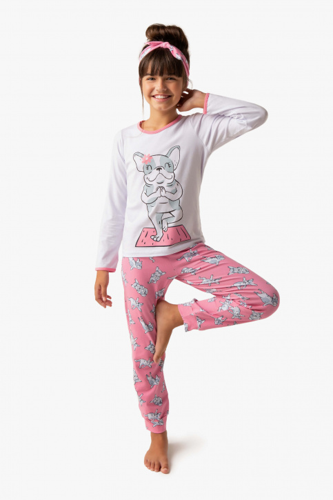 Pijama longo infantil de algodão e modal dog yoga