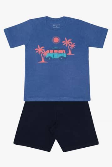Pijama infantil de modal azul e preto - Brilha no escuro