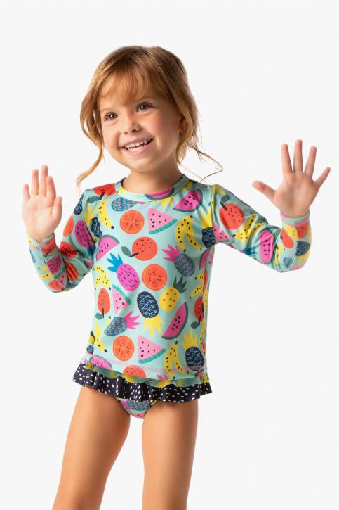 Conjunto com camiseta proteção solar fruta bebê e infantil
