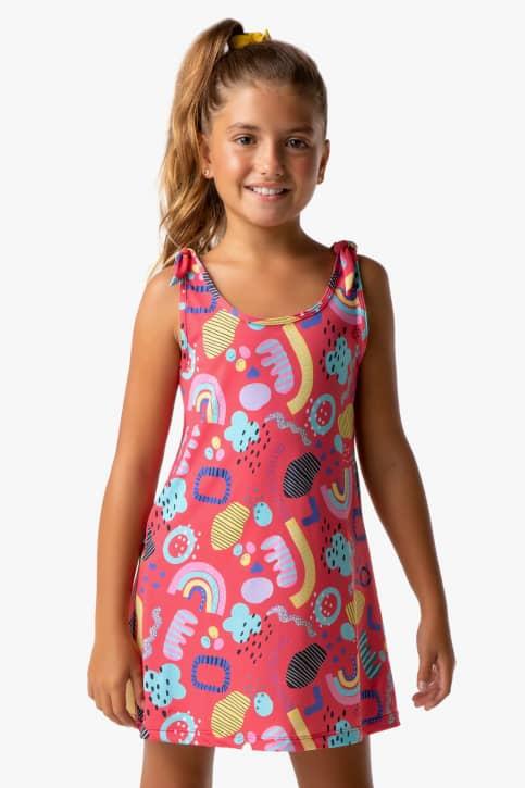 Saída de praia tipo vestido infantil chuva de verão